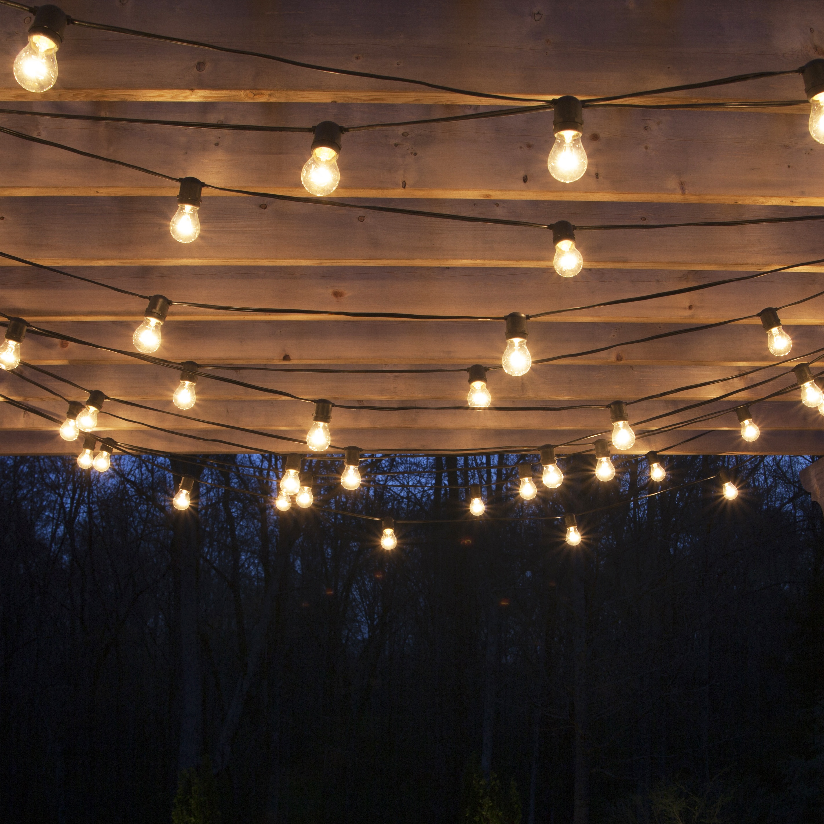 How To String Lights On An Outside Tree : How to Hang Patio Lights