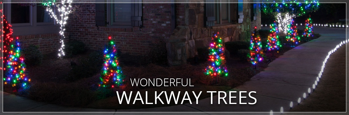 Walkway christmas trees for Sidewalk christmas lights