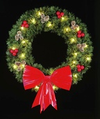 12' Rocky Mountain Pine Hanging Wreath, Clear Lamps
