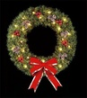 5' Deluxe Rocky Mountain Pine Wreath, Building Front, Clear Lamps