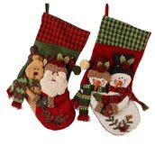 "20"" Country Snowman Santa Stockings, 2 Piece Set"