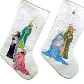 "19"" White Christmas Stockings with Nativity Design, Set of Two"