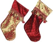 "19"" Burgundy and Gold Stocking with Tassel Cuff, Set of Two"
