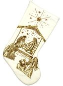 "19"" White Velvet Stocking with Gold Nativity Scene"