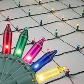 4' x 6' Net Lights - 150 Multi (Red, Green, Pink, Blue, Yellow) Lamps - Green Wire