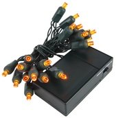 20 Amber Battery Operated 5mm LED Christmas Lights, Green Wire
