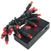 20 Red Battery Operated 5mm LED Christmas Lights, Green Wire