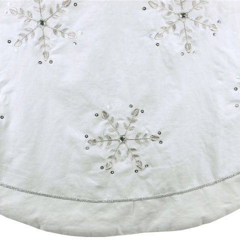 "56"" White Linen Embroidered Snowflake Jewels Tree Skirt"