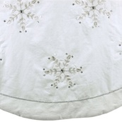 "72"" White Linen Embroidered Snowflake Jewels Tree Skirt"