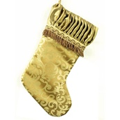 Gold Jacquard Stocking with Pleated Border