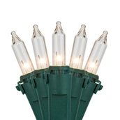 "Commercial 100 Clear Christmas Mini Lights, 6"" Spacing, Green Wire"