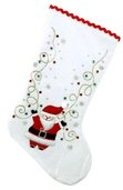 "19"" White Velvet Santa Stocking"