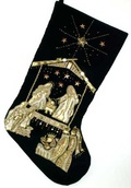 Black Velvet Nativity Stocking with Gold Beads