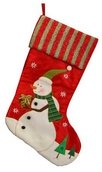 Giving Snowman Stocking with Striped Cuff