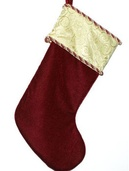 "19"" Burgundy Stocking with Swirl Design"